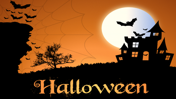 Halloween wallpaper bats and castle