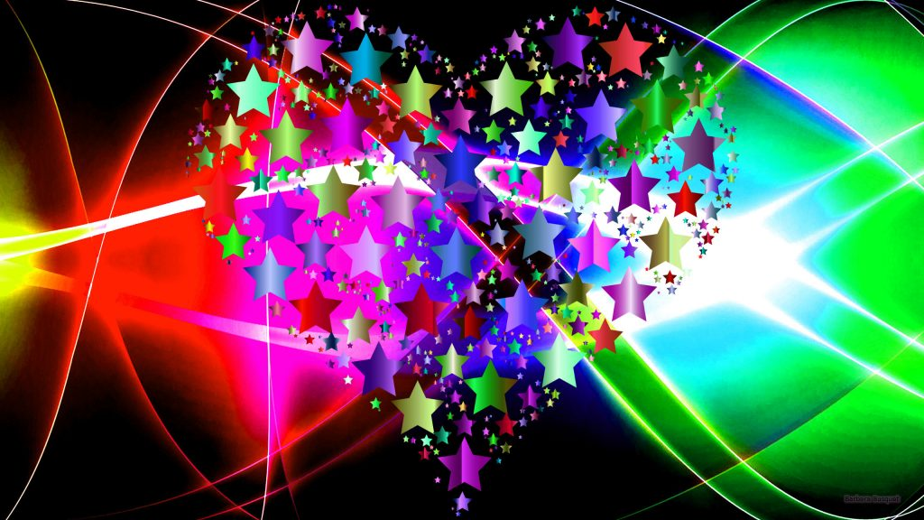 Abstract wallpaper with a heart made of stars.