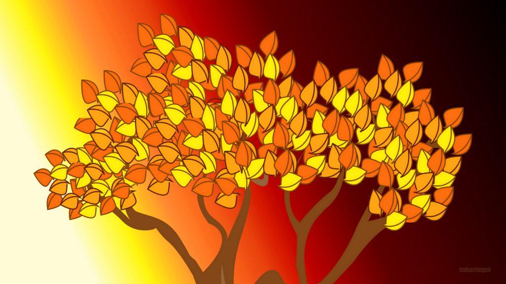 Autumn wallpaper with yellow orange tree.