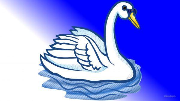 Blue white wallpaper with swan.