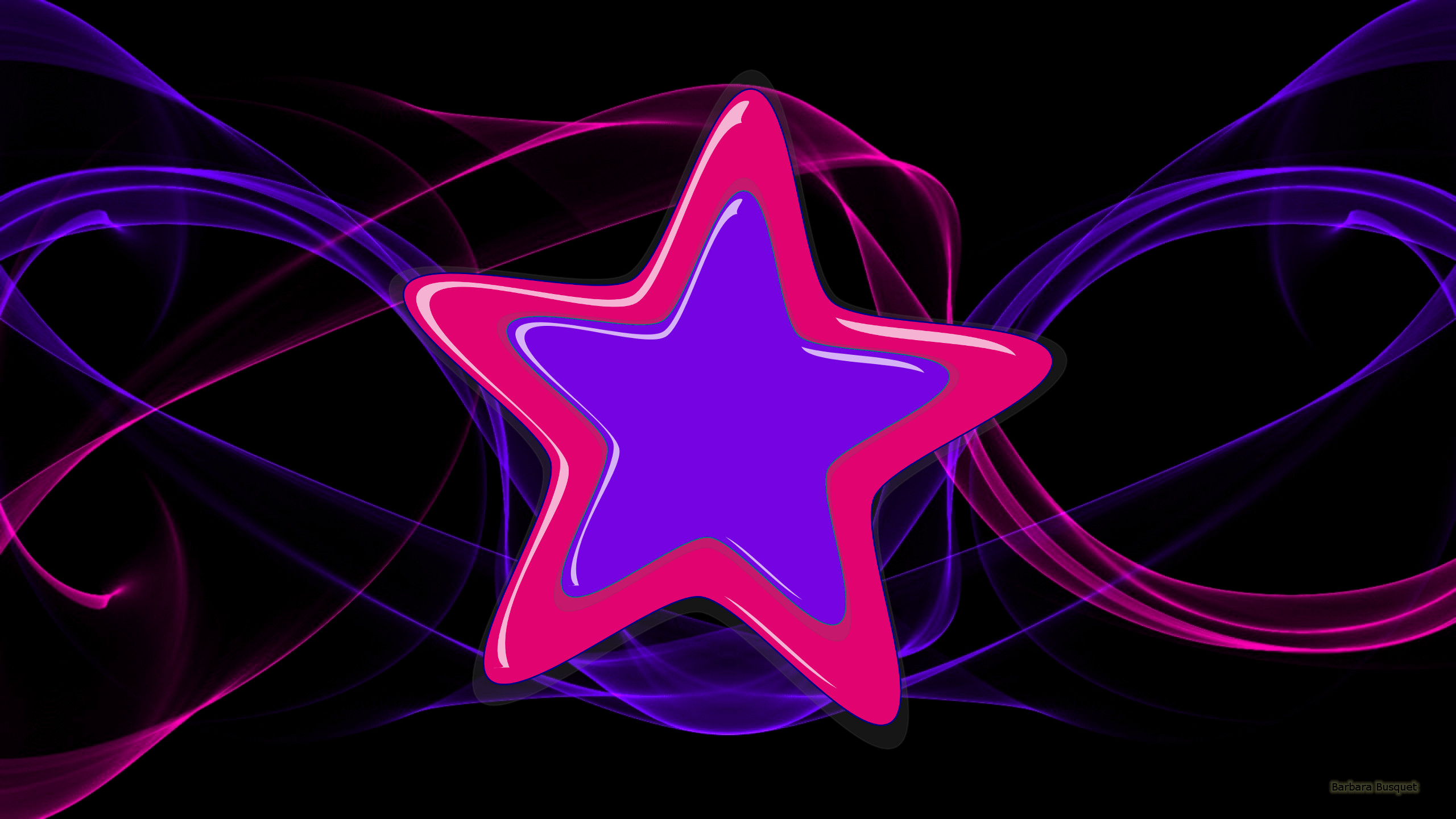 Black wallpaper with purple and pink stars.