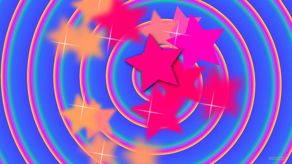 Blue pink wallpaper with stars and circles.