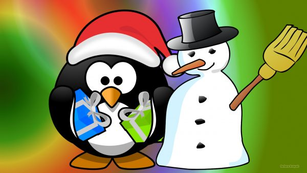 Christmas wallpaper with a snowman and a penguin
