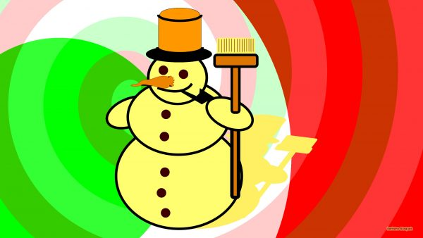 Christmas wallpaper with a yellow snowman.