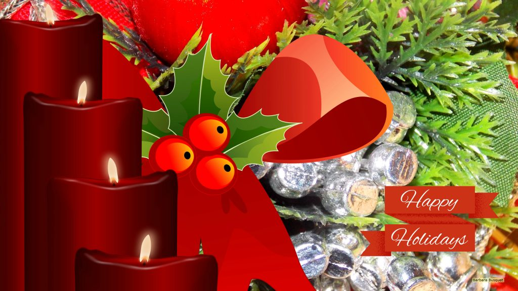 Christmas wallpaper with candles and decoration.