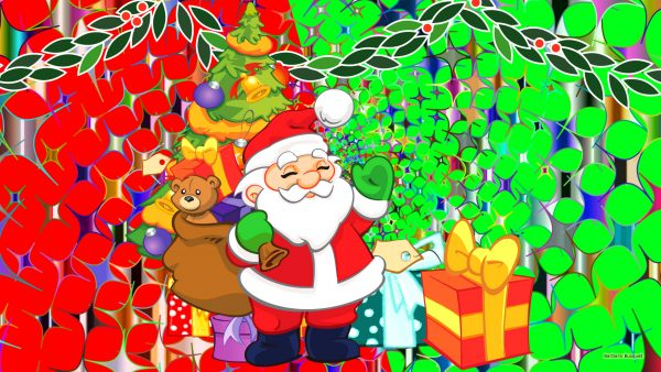 Christmas wallpaper with santa claus and presents.