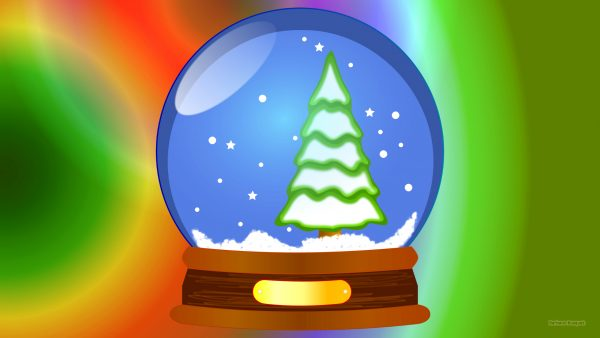 Christmas wallpaper with a snow globe