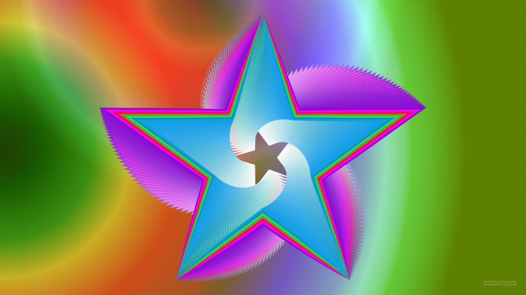 Colorful star wallpaper with a huge star in the center.