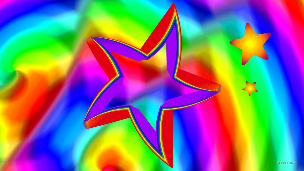 Colorful stars wallpaper with three stars.