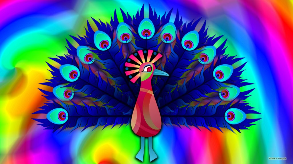Colorfull wallpaper with a peacock.