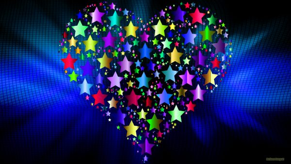 Dark blue abstract wallpaper with heart and stars.