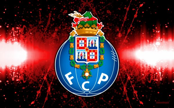 FC Porto logo on a black red background.