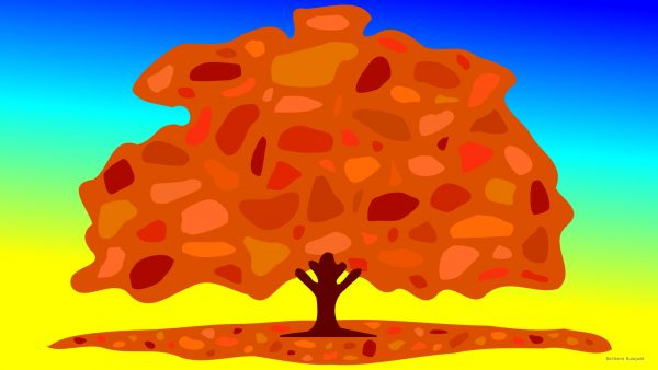 Fall wallpaper with a big tree