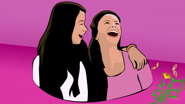 Friends forever wallpaper with girls laughing.