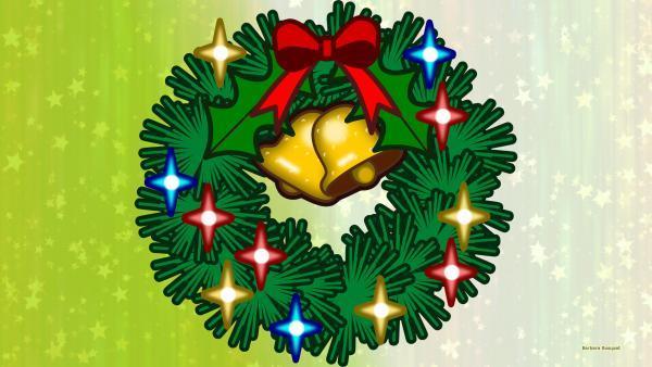 Green Christmas wreath wallpaper