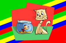 Cat and fish in bowl
