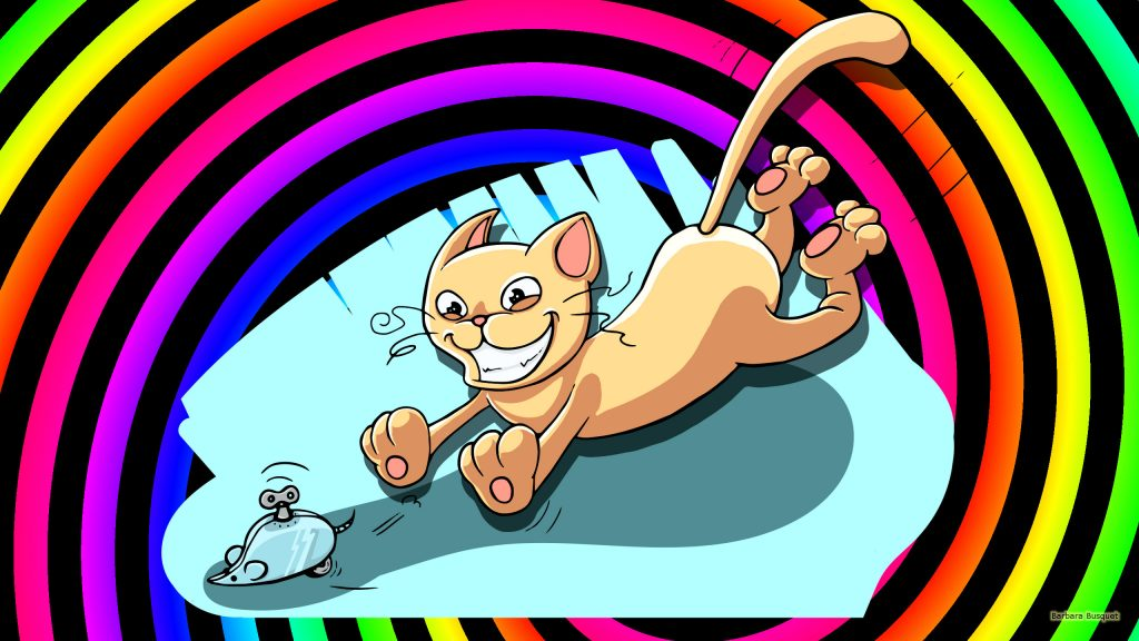 Colorful wallpaper with a cat chasing a mouse.