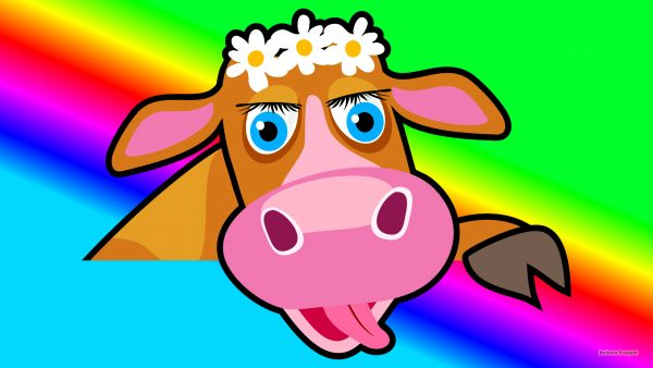 HD wallpaper Cow with wreath of daisies.
