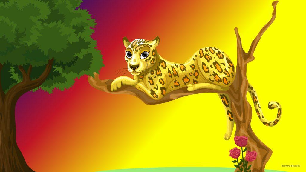 HD wallpaper leopard in tree.