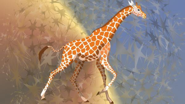HD wallpaper running giraffe
