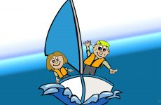 Sailboat with father and daughter