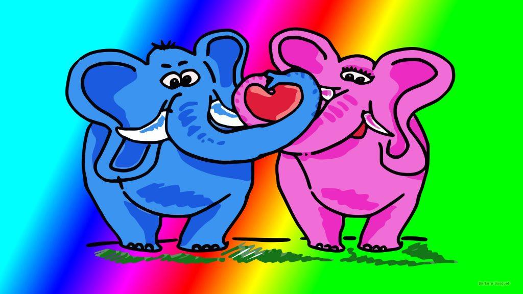 HD wallpaper with two elephants in love.