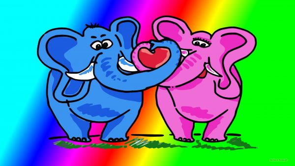 HD wallpaper with two elephants in love.