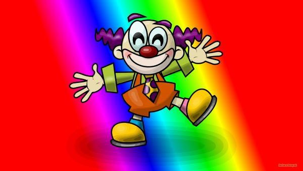 Colorful wallpaper with a clown.