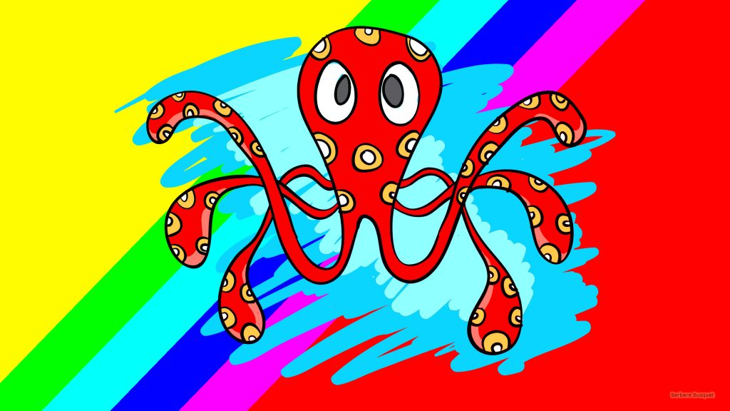 Funny HD wallpaper with a red octopus with orange dots.