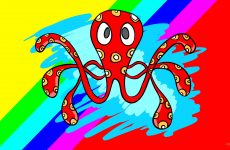 Wallpaper with red octopus