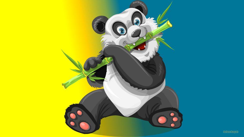 HD wallpaper with a panda bear and bamboo