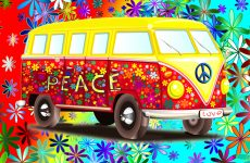 VW bus wallpaper with flowers