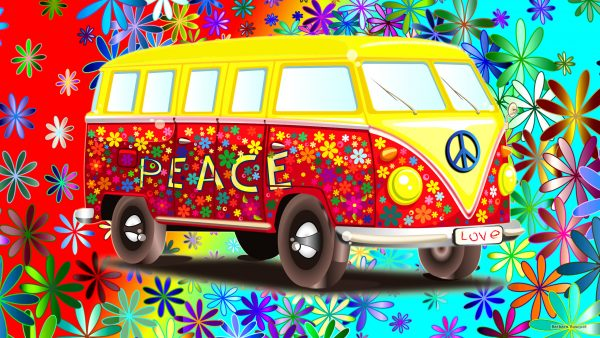 HD wallpaper with a Volkswagen VW bus.
