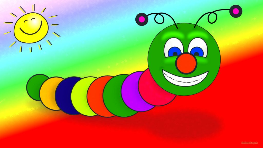 Colorful HD wallpaper with a worm and a happy sun.