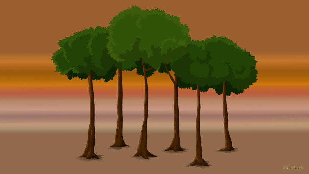 Landscape wallpaper with trees.
