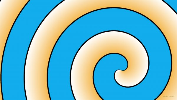 Orange blue spiral pattern wallpaper