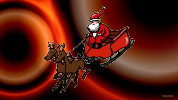 Santa Claus wallpaper with sleigh and reindeer