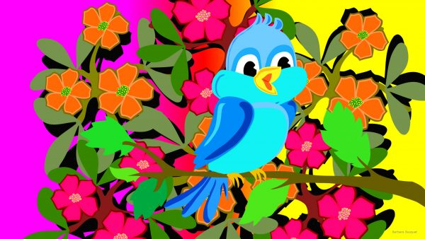 Spring wallpaper with bird and flowers