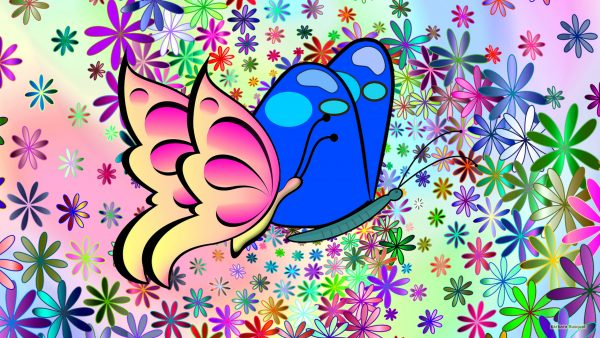 Spring wallpaper flowers and butterflies