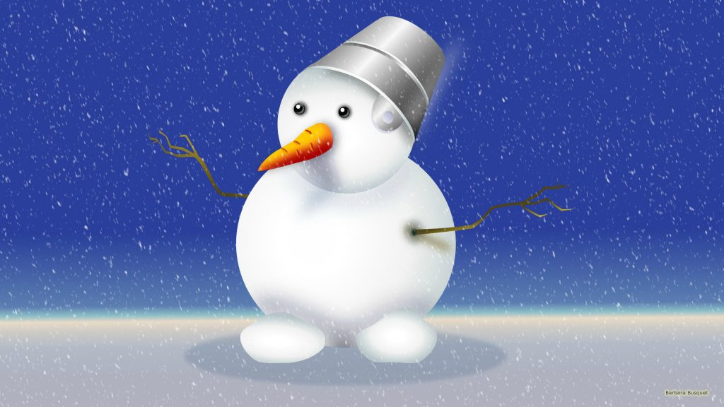 Winter wallpaper with snowman