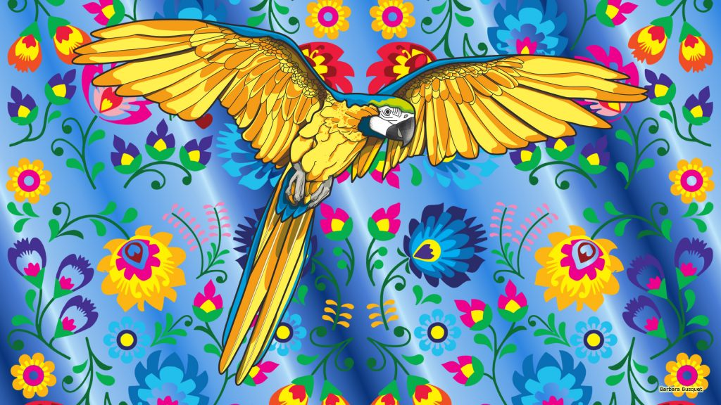 Blue wallpaper parrot and flowers