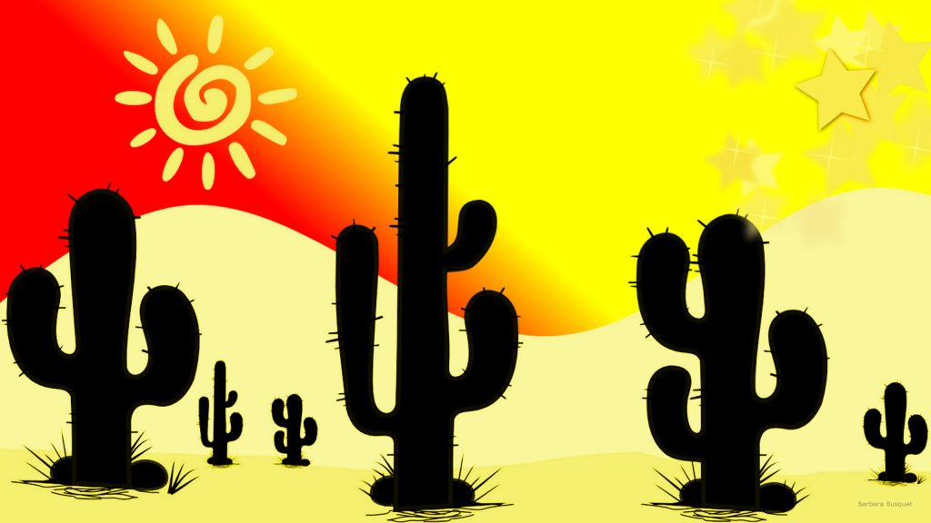 HD landscape with cacti in desert.