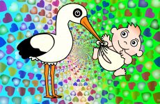 Stork with baby wallpaper