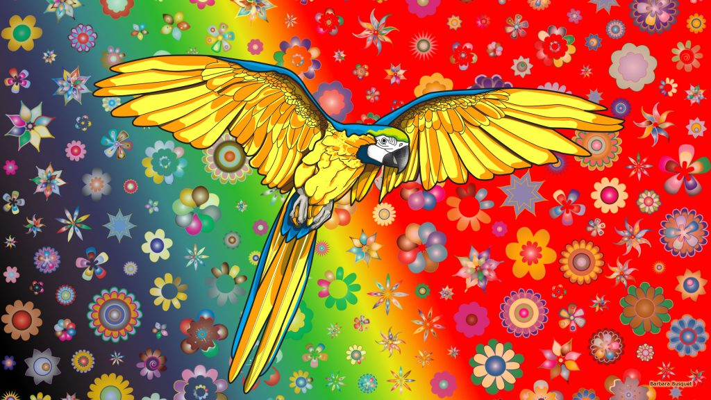 HD wallpaper with a yellow blue parrot and flowers.