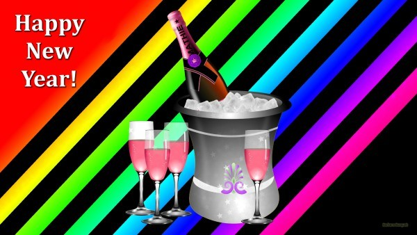 Champagne glasses and bucket with ice