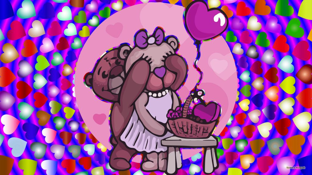 Love wallpaper with bears and balloon.