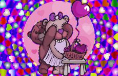 Love wallpaper with bears and balloon