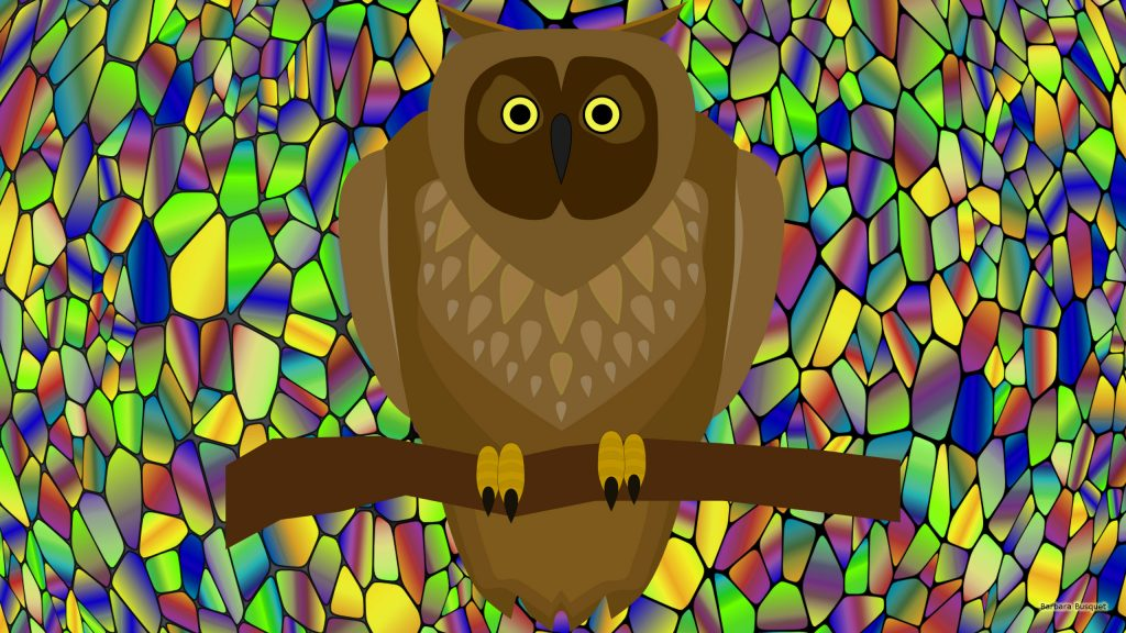 Mosaic HD wallpaper with owl