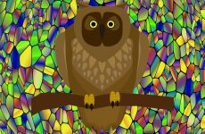 Mosaic wallpaper with owl