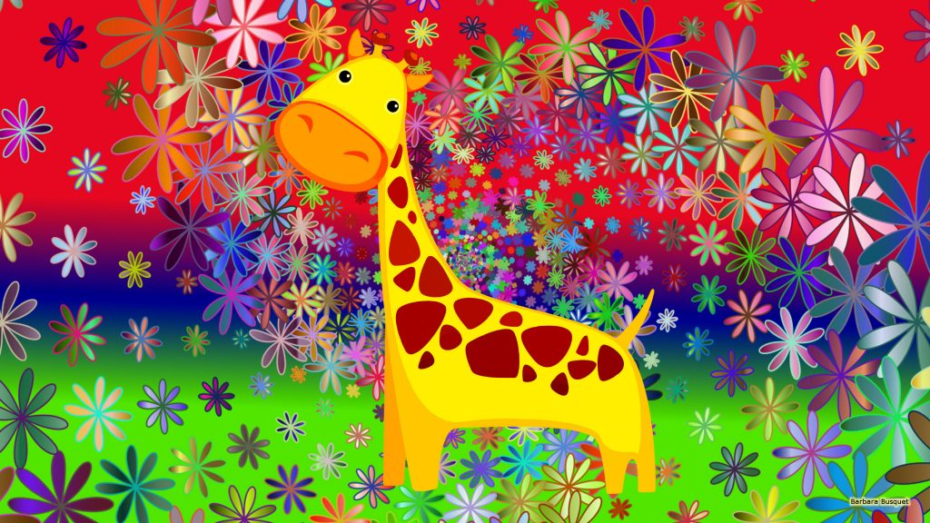 Colorful HD wallpaper flowers and giraffe
